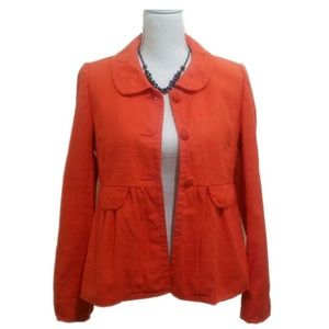 J. CREW Orange 3 Button Empire Waist Blazer Sz 6